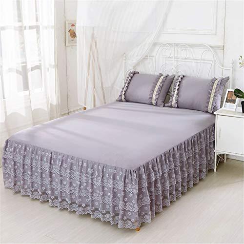 CQZM Europäischen Spitze Bed Skirt Queen Einfarbig Mit Rüschen Bettvolant Babybett Elastische rutschfest Bettrock Tagesdecke Weiß Für Schlafzimmer Wohnheim EtcB-150x200cm(59x79inch)