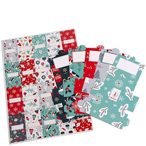 Netti Li Jae ® Aufkleber Set inkl. Mini Schachteln für Merci Schokolade – für 5 personalisierte Geschenke – persönliche Geschenkidee – Dankeschön Geschenke (Weihnachtszeit)