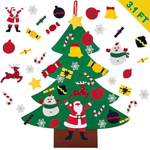YUAKOU Fieltro Árbol de Navidad, 3.1FT DIY Decoración del árbol de Navidad Decoración, Regalos Colgantes de Navidad de la Pared para Las Decoraciones de la Navidad