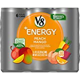 V8 +Energy, Healthy Energy Drink, Natural Energy from Tea, Peach Mango, 8 Fl Oz Can (pack of 6)