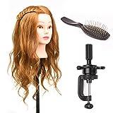 UKWIN 22 Pouce Tête à coiffer 50% Cheveux Naturel Mannequin Tête Maquillage Formation Coiffure avec Support Support+ Peigne en acier +Set de tresse Blond 55CM