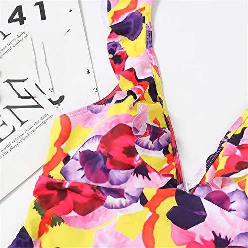 Dicomi Women Fashion Bikinis Floral Printed One Piece Bikini Ruffles Swimsuit Yellow