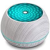 1000ml Difusor de Aceite Esencial para Aromaterapia, Humidificador de Niebla Fría de Grano de Madera con Luces LED de Colores, Hasta 22H de Uso, Ajustes de Tiempo, Apagado Automático Sin Agua,Blanco