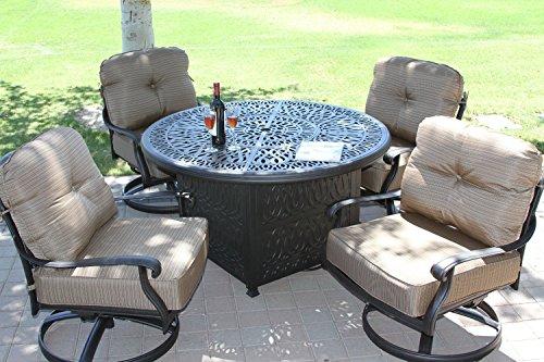 Elizabeth Cast Aluminum Powder Coated 5pc Deep Seating Set with 52' Firepit with Enclosure Sunbrella Fabric - Antique Bronze