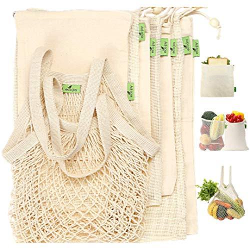 8 PACK Eco Joy Cotton Reusable Produce Bags Reusable Mesh Produce Bags amp Cotton Muslin Bags BONUS Cotton Zipper Bag | Produce Bags Reusable Grocery Bags for Shopping Veggies Bags