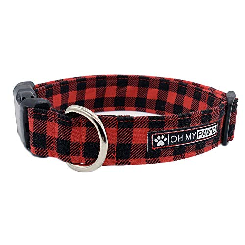 Red & Black Buffalo Plaid Collar for Pets Size Large 1 Inch Wide and 17-25 Inches Long - Hand Made Dog Collar by Oh My Paw'd