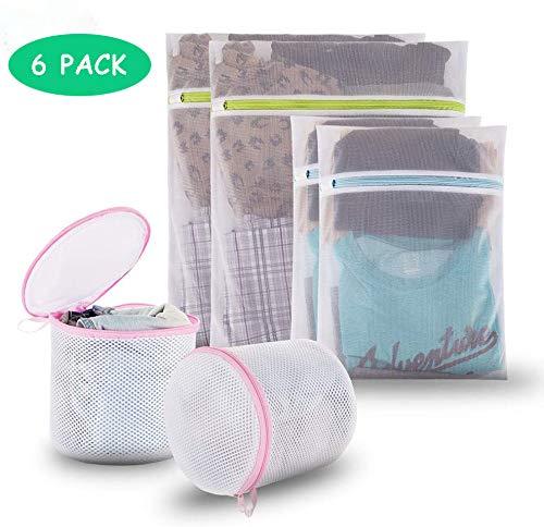 Newdora Bolsas de Lavandería de Malla Paquete de 6 Bolsa de Colada de Reutilización Esencial para Delicados Blusa, Calcetería, Ropa Interior, Sujetador, Lencería Ropa de Bebé