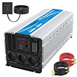 4000W Convertisseur 12V 220V 230V Pur Sinus Onduleur à Onde Sinusoïdale Pure Transformateur avec 3 Prises AC Télécommande 2,4A USB et Affichage LED GIANDEL