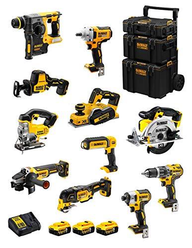 DeWALT Kit DWK1100 (DCD796 + DCH273 + DCG405 + DCF887 + DCF894 + DCS331 + DCS391 + DCS355 + DCP580 + DCS369 + DCL050 + 3 Baterías de 5,0 Ah + Cargador + Carro 3en1)