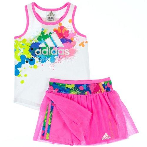 Adidas Girls 2-6X 2-Piece Active Wear Skort Set 5 Gypsy White