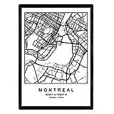 Nacnic Drucken Montreal Stadtplan nordischen Stil schwarz