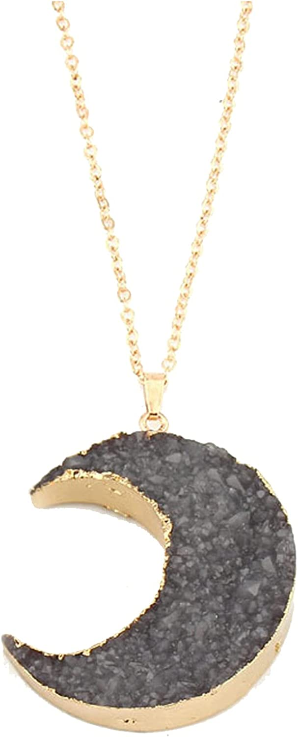 COLORFUL BLING Simple Resin Moon Necklace Imitated Druzy Crescent Charm Pendant Crystal Chain Necklace for Women Girls Jewelry Party Gifts