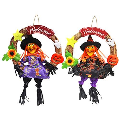 Halloween Benvenuto appeso ciondolo adorabile strega appeso ghirlanda felice Halloween parete appeso casa bar centro commerciale appeso ghirlanda colore casuale