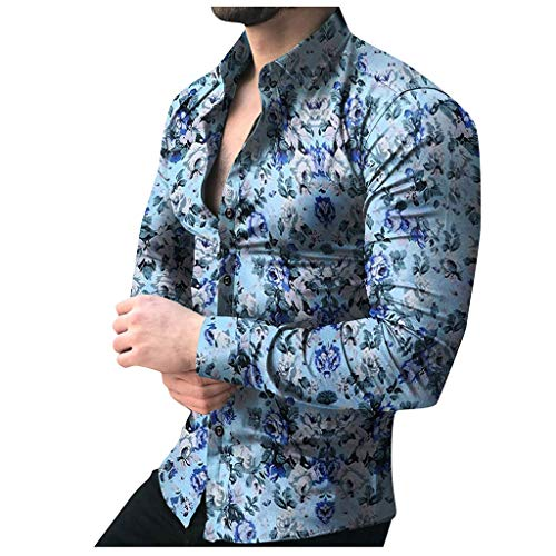 F/_Gotal Autumn Mens T-Shirts Fashion Floral Printed Long Sleeve Slim Fit Sport Dress Tees Blouse Tops Shirt for Men