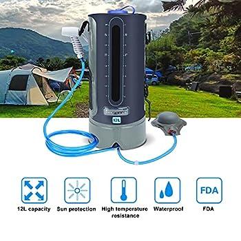 MIRUKU Sac de Douche Camping 12L Douche Solaire TPU Sac de Douche Portable avec Tuyau Amovible Long et Indicateur de Température pour la Randonnée et l'escalade en Plein Air