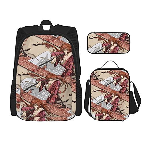 Rurouni Kenshin Himura Kenshin Anime Rugzak 3-delige set, rugzak + etui + lunchtas combinatie Geschikt voor mannen…