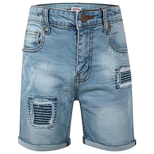 A2Z 4 Kids® Kinder Jungen Mädchen Kurze Hose Designer Hellblau Denim Zerrissene - Boys Denim Short Ripped Light Blue_11