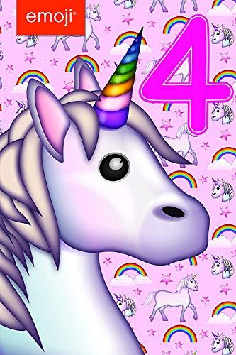 Gemma International 260809 4th Compleanno Emoji Unicorno Biglietto di Auguri Compleanno