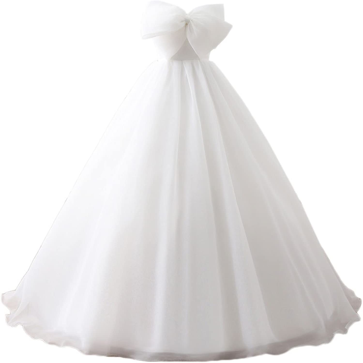 Maricopyjam Women's Large Bowknot Bust Strapless Empire Long Organza Ball Gown Princess Dress