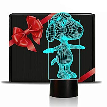 Dog Animal 3D Lamp Night Light Touch Table Desk Lamps 7 Color Changing Lights with Acrylic Flat & ABS Base & USB Charger