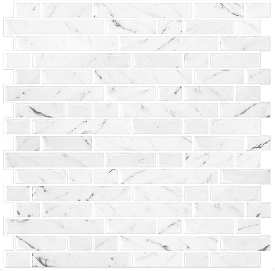 STICKGOO 10-Sheet SALENEW very popular White Marble Look Backsplash Peel Purchase Stick 12Ã