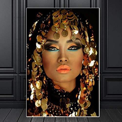 WTYBGDAN Bling Gold Maquillaje Mujer Lienzo Pinturas Inicio Arte de Pared Carteles e Impresiones Fotos de Pared para Sala de estar Decoración de Pared | 50x70cm/Sin Marco
