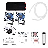 Zopsc DIY 240mm Cooler CPU/GPU Block Pump Reservoir with LED DIY 240mm Water Cooling Kit Fan Heat Sink Computer Water Cooling Connectors Kit, All-in-one Liquid CPU Cooler Kit