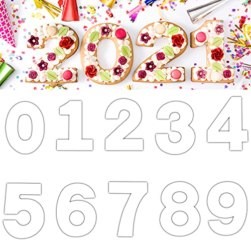 Number Baking Cake Mold 0-9 Flat Plastic Number Cake Pan Templates Cake Number Molds for DIY Wedding Birthday Anniversary Cake