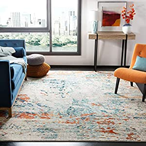 Safavieh Madison Collection MAD478B Modern Abstract Non-Shedding Stain Resistant Living Room Bedroom Area Rug, 6′ x 9′, Cream / Orange