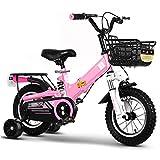 SHIN 12-18 Pulgadas Bicicletas Doblar Infantiles, Bici Plegable Niño, Bike con Frenos y Ruedas de Entrenamiento/Pink / 18''