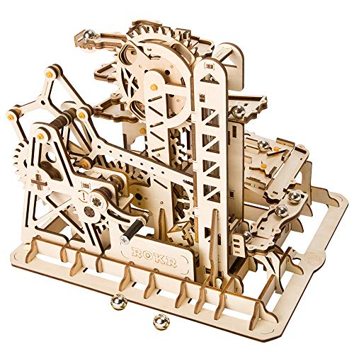 ROKR Marble Roller Coaster Clockwork Mechanical 3D Puzzle Game Woodcraft Construction Kit Adult Craft Set Puzzle Present (Tower Coaster)