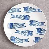 XCY シンプルなセラミックプレートヨーロッパプレートフルーツプレートデザートプレート手描きのフラットプレート西部の食品プレート皿プレート(2個),鯉のぼり,20.5Cm(6.15インチ)