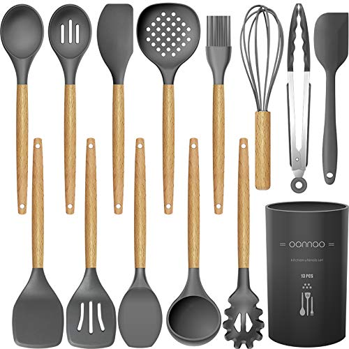 14 Pcs Silicone Cooking Utensils Kitchen Utensil Set - 446°F Heat Resistant,Turner Tongs,Spatula,Spoon,Brush,Whisk. Wooden Handles Gray Kitchen Gadgets Tools Set for Nonstick Cookware (BPA Free) Maine
