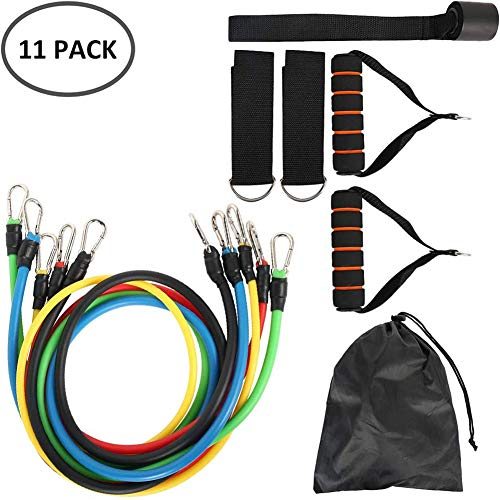 11pcs Oefening Banden van de Weerstand Set, Fitness Stretch Workout Bands Cord met trekkabels, handvatten, Door Buckle, Foot Ring en Bag