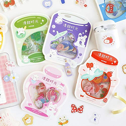 45Pcs Cute Plant Stationery Stickers Kawaii Drink Stickers Paper Adhesive Stickers For Kids DIY Scrapbooking Diary Photos Albums