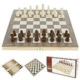 Juego de ajedrez 3 en 1 de madera, juego de ajedrez internacional, juegos de mesa para adultos, 2 jugadores, ajedrez, Dama Backgammon, diseño plegable, juguetes educativos para niños (E)