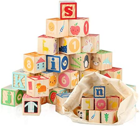 Jamohom Wooden ABC Building Blocks for Toddlers 1 3 Baby Wood Alphabet Number Blocks 26 PCS product image