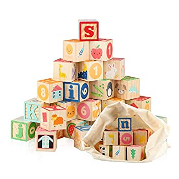 Jamohom Wooden ABC Building Blocks for Toddlers 1+Baby Wood Alphabet Number Blocks 26 PCS for Stacking Preschool Learning Educational Games Montessori Sensory Toys for Kids 1.65