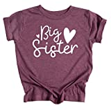 ELLA COLE COMPANY Big Sister Announcement T-Shirt for Toddler Girl- Luxury Cotton Blend Big Sister Shirt Maroon, 3T