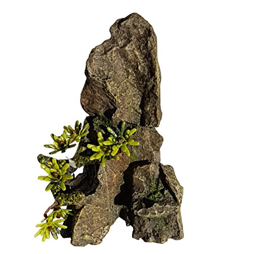 Small Rock Outcrop With Plant Aquarium Ornament
