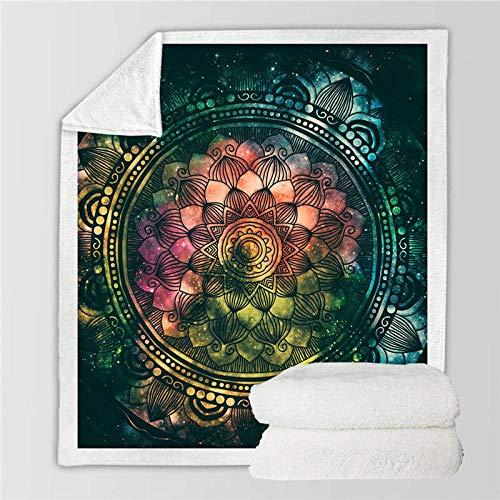 ZMK-720 Bettwäsche-Mandala-Decke Luxusbettwäsche-Blumen Decken-Rosa Grünes Goldplüsch-Bettdecke@1_130 cm X 150 cm