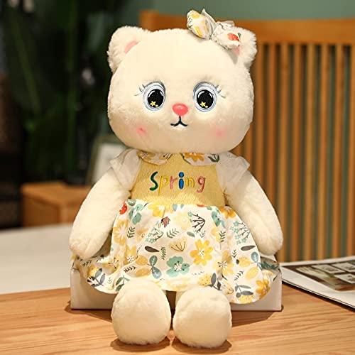 KXCAQ 35CM-65CM Juguetes de Felpa para Gatos Lindo Gato Desgaste Falda muñecas Animal de Peluche Almohada para Novia bebé Regalo de cumpleaños 50cm Amarillo