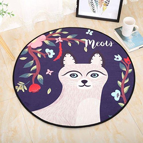 Good thing tapis Animaux de bande dessinée ronde tapis/tapis ordinateur chaise pad panier tapis tapis tente chevets imperméable à l'eau (taille : Diameter 100cm)