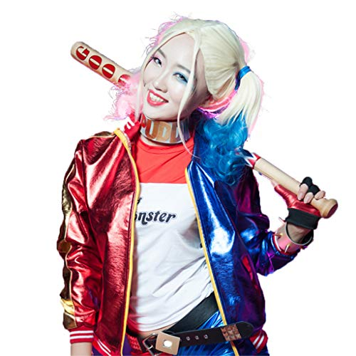Baipin Harley Quinn für Kostüm Set, Clown Damen Cos Kostüm, Suicide Squad für Party Kostüm Kleid, für Karneval Fasching Halloween Cosplay