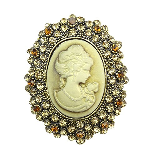 TOOKY - Broche de resina, con detalles brillantes, imagen en relieve, diseño vintage, joyería para boda