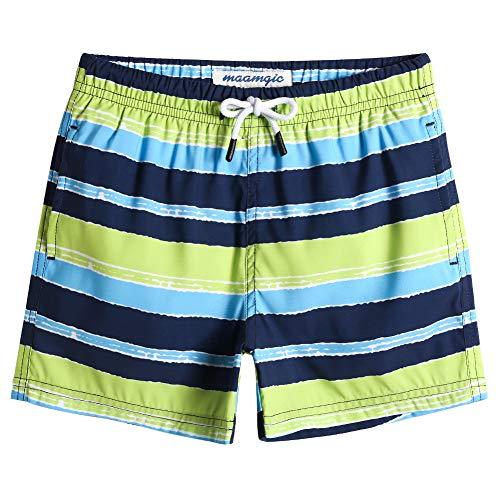 MaaMgic Badehose Jungen Sommer Badeshorts Schnelltrocknend Boardshorts mit Netzfutter Taschen und Verstellbarem Tunnelzug Urlaub Shorts Gestreift Blau Grün