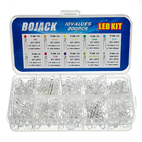 BOJACK 10 colori 200 pezzi 5mm diodi a LED Kit di confezioni (Trasparente DC 2 V - 3,2 V 20 mA) Lampadine a incandescenza luminose Componenti elettronici 5 mm diodi ad emissione di luce Parti
