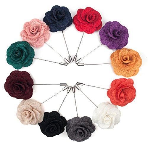 TopTie Anstecknadel Handgemachte Kamelie, Blumen Boutonniere Hochzeit für Anzug Rose, Ansteckblume, Hochzeitsanstecker Brosche für Hochzeit (12er Pack) -SET4