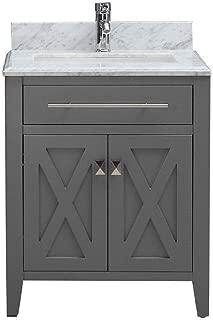 Belvedere Bath Traditional Freestanding Gray Bathroom Vanity with Italian Carrara Marble Countertop | Modern Farmhouse Vanity Sink Combo | 24 Inch