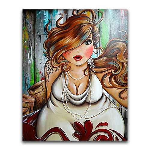 5D DIY Diamond Painting Kit Crystal Rhinestone Completo Full Pintura al Oleo Por Numeros Embroidery Pictures Artes Home Wall Decor Mujer gorda con collar -80x100cm E1227